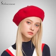 barret hat sedancasesa women beret hat knitted wool beret autumn winter warm