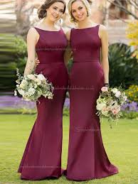 classic beautiful girls burgundy purple satin mermaid long