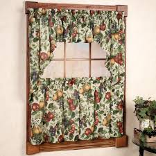 Country Style Curtains And Valances Country Style Kitchen Window Curtain Set Sonoma Fruit Tier Window