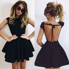 black mini homecoming dress a line backless cocktail dress short