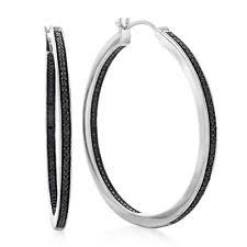 black diamond hoop earrings diamond hoop earrings ebay