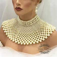 choker necklace jewelry images Gold ivory pearl armor bib choker bridal wedding necklace jewelry jpg