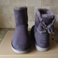 womens ugg boots usa ugg australia naveah nightfall grey mini bow suede boots