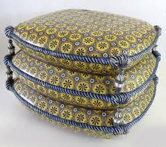 vintage majolica glazed ottoman stool cushions tassels from
