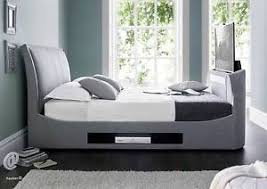 Kingsize Tv Bed Frame Maximus Grey Smoke Fabric Multi Media King Size Tv Bed Frame
