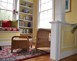 Bookshelf Seat White Wooden Bookshelves On The Yellow Wall Combined With Yellow