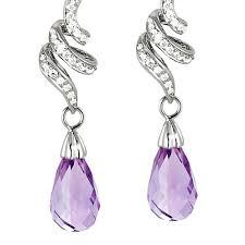 amethyst earrings dangling amethyst diamond earrings gemstone jewelry image