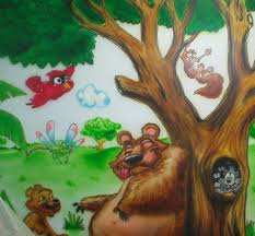 cartoon characters or animals mural painting for the kids room funny curtains for the kids room