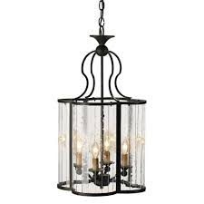 rudolpho wrought iron seeded glass clover leaf lantern pendant