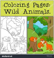 coloring pages wild animals three little stock vector 548440804