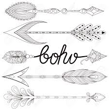 bohemian arrows set with henna feathers hand drawn arrows for