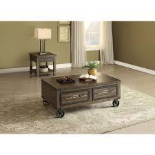 Dark Oak Wood Furniture Acme Furniture Kailas Dark Oak Built In Storage Coffee Table 82280