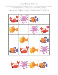 ocean animals sudoku puzzles gift of curiosity