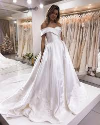 satin wedding dresses the shoulder sweep satin wedding dresses lace