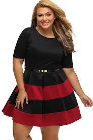 burgundy black stripes detail belted plus size skater dress