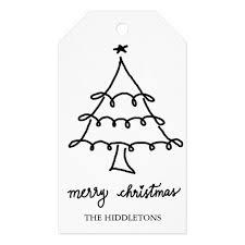 merry christmas modern merry christmas modern script christmas tree gift tags zazzle com