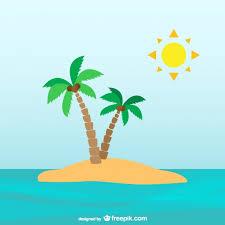 palm trees on desert island vector free