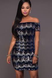 dark blue sequin off shoulder mini dress club dresses
