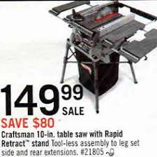 10 In Table Saw Black Friday Deal Craftsman 10 In Table Saw 21805