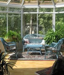 decorating sunroom wicker furniture blue finish durable material