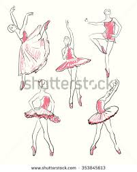 vector sketch girls ballerina standing pose stock vector 207610672