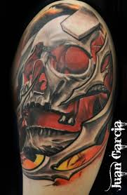 mechanic tattoos awesome black and red mechanical skull tattoo