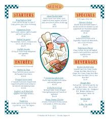 sample breakfast menu template