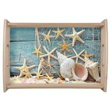 themed serving tray themed conch shell starfish fishing net serving tray