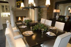 formal dining room color ideas cream covered leather chairs black