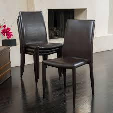 modern leather dining chair set brown color includes 4 chairs