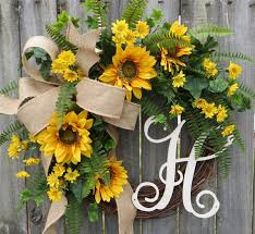burlap sunflower wreath horn s handmade front door wreaths christmas wreaths tree