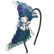 feather butterfly adjustable removable hairband with rhinestones