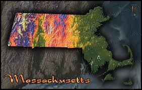 Massachusetts Maps by Massachusetts Map Colorful 3d Topography Of Natural Terrain