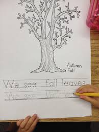 autumn writing paper fall leaf craft and writing apples and abc s pieces of paper to make fall leaves this year we used the leaf stickers first i had the students trace and print the sentence