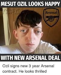 Ozil Meme - mesut ozil looks happy arsenal with new arsenal deal ozil signs new