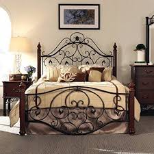 Antique King Bed Frame Size Antique Style Wood Metal Wrought Iron Look Rustic