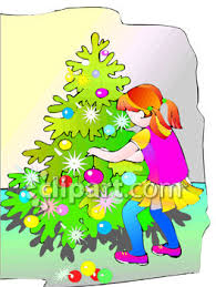 little decorating a christmas tree royalty free clip art