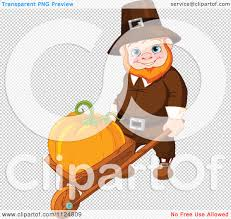 pumpkin no background cartoon of a happy thanksgiving gnome man pushing a pumpkin in a