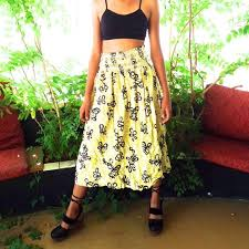 hawaiian pattern skirt vintage dresses skirts hawaiian maxi skirt tiki hula smocked