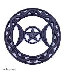 our triple moon pentacle plaque is delicately hand carved to