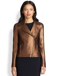 perforated leather motorcycle jacket akris punto perforated metallic leather moto jacket in brown lyst