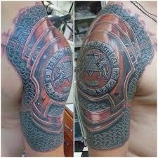 medieval armor shoulder tattoo for men