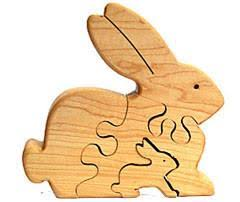 animal wood rabbit bunny wooden puzzle a garden