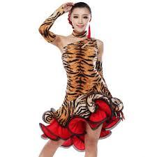leopard latin dance dress women competition ballroom dance dress