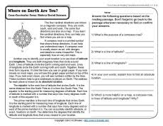 reading comprehension 4th grade where on earth are you reading comprehension worksheets