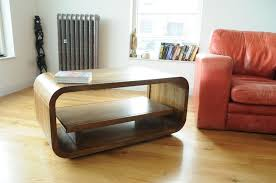 retro curved natural mango wood tv media cabinet coffee table