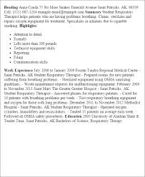Respiratory Therapist Resume Samples by Resume For A Respiratory Therapist