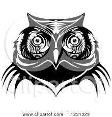 clipart of a black and white owl face tribal tattoo 3 royalty