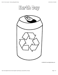 earth day coloring page with a picture of a recyclable drink tin