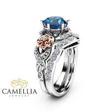 topaz engagement ring blue topaz engagement ring set 14k two tone gold topaz ring floral